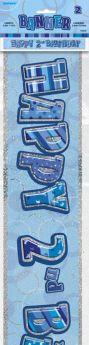 Blue Glitz Age 2 Prismatic Foil Banner 3.6m
