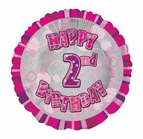 Pink Glitz Happy 2nd Birthday Prismatic Foil Balloon 18in