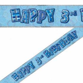 Blue Glitz Age 3 Prismatic Foil Banner 3.6m