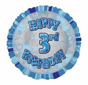 Blue Glitz Happy 3rd Birthday Prismatic Foil Balloon 18in