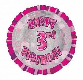 Pink Glitz Happy 3rd Birthday Prismatic Foil Balloon 18in