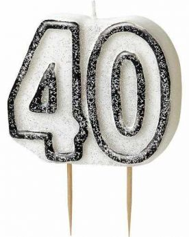 Black Glitz Party Candle Age 40