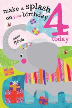 Age 4 Elephant Birthday Card