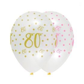 Pink Chic Happy Age 80 Latex Balloons 12'', pk7
