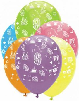 Age 9 Latex Balloons - Bright Mix 6pk