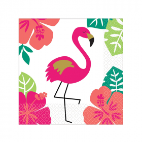 Aloha Flamingo Beverage Napkins 25cm x 25cm, pk16
