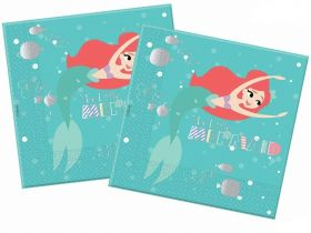 Ariel Under The Sea Napkins 33cm x 33cm, pk20