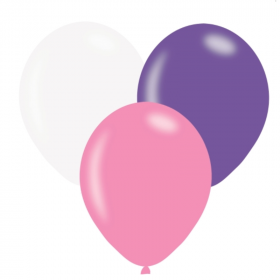 """Pink, Lilac & White Latex Balloons 9"""""""