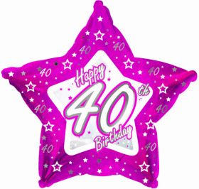 Pink Stars Foil Balloon Age 40