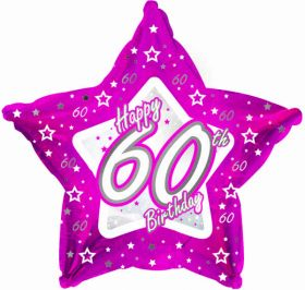 Pink Stars Foil Balloon Age 60