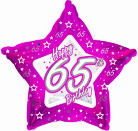 Pink Stars Foil Balloon Age 65