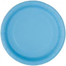 Powder Blue Paper Plates 23cm, pk8