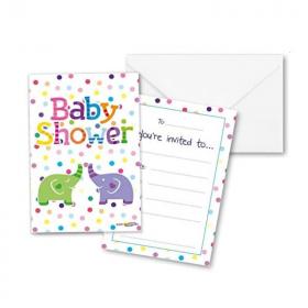 Baby Shower Elephants Invitations, pk8