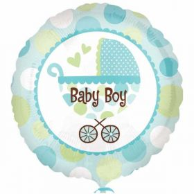 Baby Boy Buggy 18in Foil Balloon