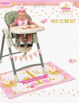 Pink and Gold 1st Birthday High Chair Kit