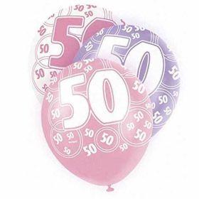 Pink Glitz 50th Balloons pk6