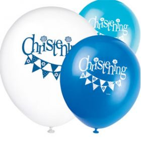 Christening Blue Bunting Party Latex Balloons Pk8