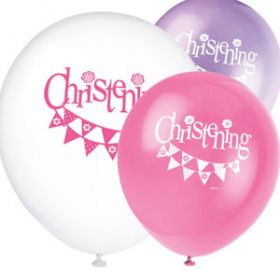 Christening Pink Bunting Party Latex Balloons Pk8