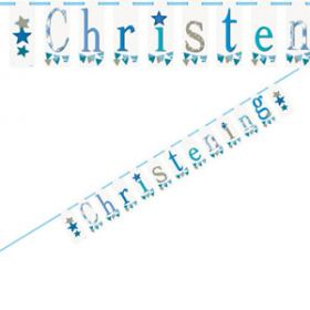 Christening Blue Bunting Party Banner