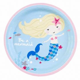 Be a Mermaid Paper Plates 23cm, pk8