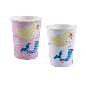 Be a Mermaid Paper Cups 250ml, pk8