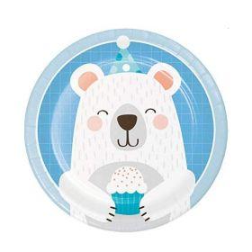 Birthday Bear Dessert Plates 18cm, pk8