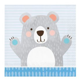 Birthday Bear Luncheon Napkins 33cm x 33cm, pk16