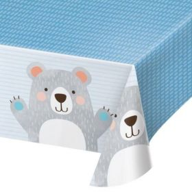 Birthday Bear Plastic Tablecover 1.37m x 2.6m