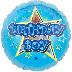 "Blue Stars Birthday Boy Foil Balloon 18"""