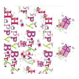 Pink Birthday Gift Wrap & Gift Tags