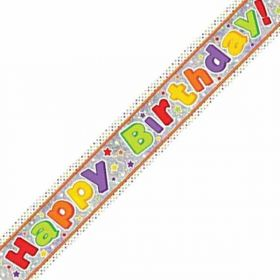 Happy Birthday Holographic Foil Banner