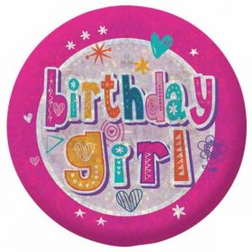 Happy Birthday Girl Holographic Badge 5.5c