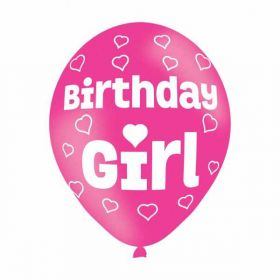 All Round Birthday Girl Party Balloons 6pk