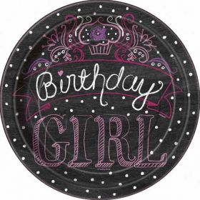 "Sweet Birthday Girl 9"" Paper Plates, 8 pk"