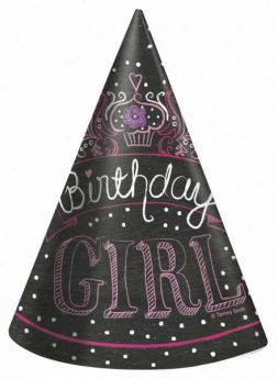 Sweet Birthday Girl Party Hats, 8 pk