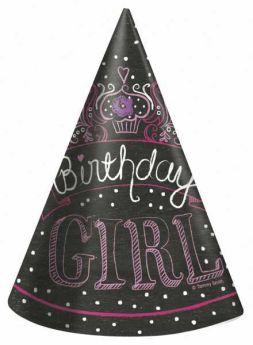 Sweet Birthday Girl Party Hats, 8 pk
