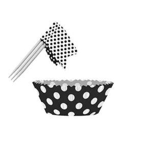 Midnight Black Polka Dot Cupcake Kit, 24pc
