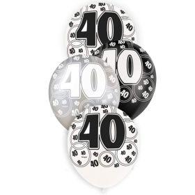 Black Age 40 Latex Balloons