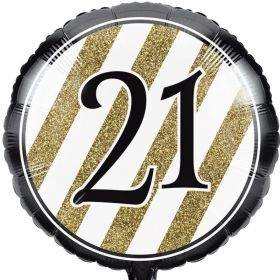 Black & Gold Age 21 Foil  Balloon 18""