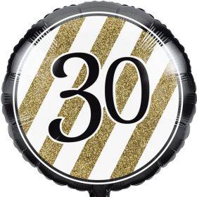 Black & Gold Age 30 Foil Balloon