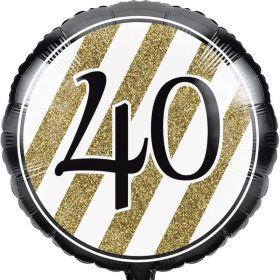 "Black & Gold Age 40 Foil Balloon 18"""