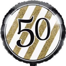 "Black & Gold Age 50 Foil Balloon 18"""