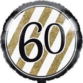 Black & Gold Age 60 Foil Balloon