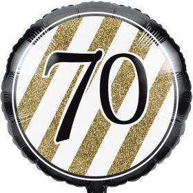 "Black & Gold Age 70 Foil Balloon 18"""
