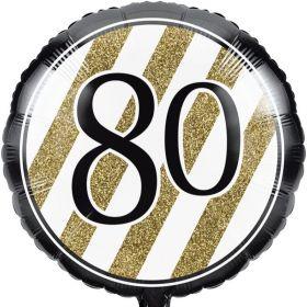 Black & Gold Age 80 Foil Balloon