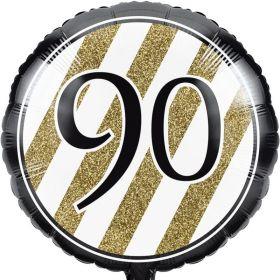 "Black & Gold Age 90 Foil Balloon 18"""