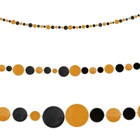 Halloween Orange and Black Dot Garland