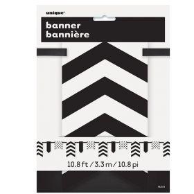 Midnight Black Chevron Pennant Banner