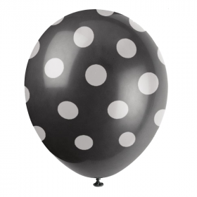 Black Polka Dot Latex Balloons 12""
