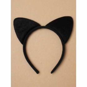 Black fabric Cat ears on a black aliceband